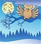 Cute flying owl in snowy landscape - vector illustration.