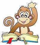 Cute monkey reading book - vector illustration.