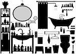 A set of bathroom tools and equipments.