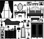 A set of bedroom design and furnitures.