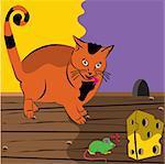 Illustration de vecteur d'un regard à la souris dont la recherche de la paix de fromage.