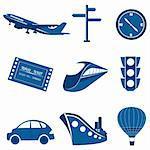 illustration of set of transportation icons on isolated background