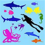 ocean's life - vector