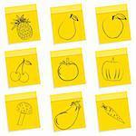 illustration of fruit & vegetables sketch on chit sticker