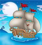 Old boat sailing sea at night - color illustration.