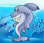 Cute funny shark in sea - color illustration.