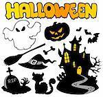 Set of Halloween silhouettes 2 - vector illustration.