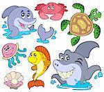 Set of marine animals - vector illustration.