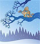 Two cute birds in snowy landscape - vector illustration.