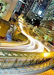 traffic by night in Hong Kong