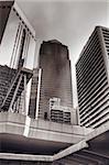 Skyscrapers and bridge in modern city in Hong Kong.