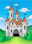 Old medieval castle in landscape - color illustration.