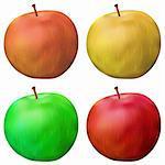 Apple set, vector summer fruit, isolated, eps10