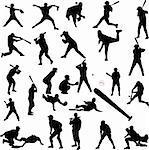 baseball silhouettes - vector