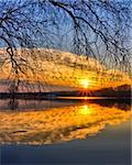 Beautiful evening sky reflection on the lake