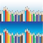 Background of color pencils. Vector illustration for design