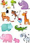 vector illustration of a cute animal set