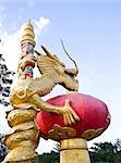 Golden dragon statue In Thailand