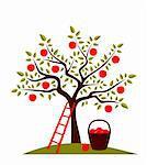 vector apple tree, ladder and basket of apples, Adobe Illustrator 8 format