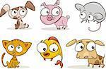 cartoon illustration of cute little pets set