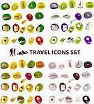 Travel backgrounds button Vector illustration big set