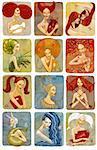 raster illustrator of woman zodiac signs set