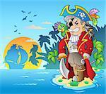 Noble corsair standing on island - vector illustration.