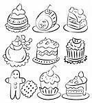 hand draw cartoon cake icon