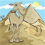 Dessin chameau devant une pyramide dans le désert