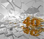 cubes background and golden number forty - 3d illustration