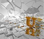 cubes background and golden letter u - 3d illustration