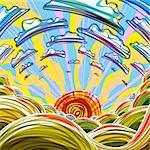 Sunrise illustration. Bright, colorful, cartoon style.