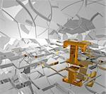 cubes background and golden letter t - 3d illustration