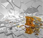 cubes background and golden letter r - 3d illustration