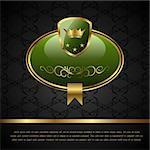 Illustration royal background with golden frame, shield, crown - vector