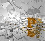 cubes background and golden letter p - 3d illustration