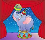 Cartoon elephant on circus stage 1 - vector illustration.