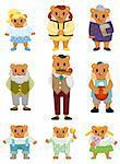 cartoon bear family icon