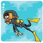 Cartoon diver swimming underwater. Blue sea behind him