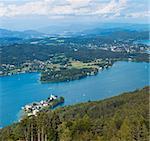Panorama of Lake Worthersee, bird's-eye view, Austria, Karnten