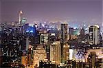 Colorful city night scene with light in Taipei, Taiwan, Asia.