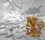 cubes background and golden letter n - 3d illustration