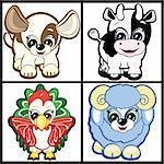 Set of Little Animals - Farm. Vector.