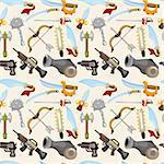 cartoon weapon set seamless pattern