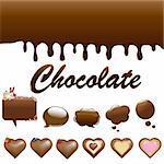 Assortment Chocolates, Isolated On White Background, Vector Illustration
