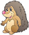 Cute cartoon hedgehog - vector illustration.
