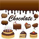 Chocolates Set, Isolated On White Background, Vector Illustration