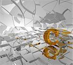 cubes background and golden letter c - 3d illustration