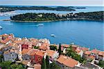 High angle view of the Dalmatian coast from the city of Rovinj Croatia