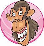 cartoon illustration of funny chimpanzee ape